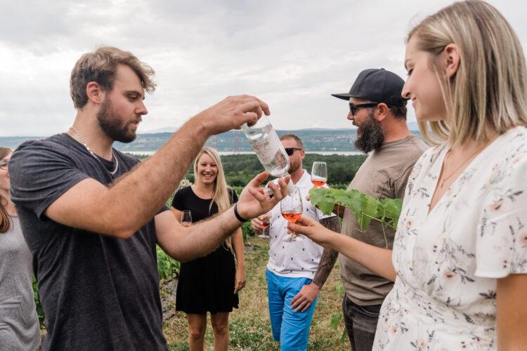 wine tasting during bus tour in quebec city